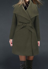 Army Green Belt Bow Turndown Collar Long Sleeve Fashion Coat