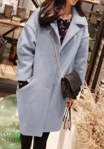 Mi-long manteau en laine avec poches boutons manches longues mode femme hiver bleu clair