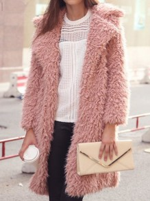 Pink Faux Fur Turndown Collar Long Sleeve Fashion Coat