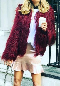 Burgundy Draped Long Sleeve Faux Fur Feather Fashion Cardigan Coat