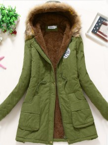 Army Green Drawstring Pockets Faux Fur Lined Hooded Parka Long Sleeve Coat