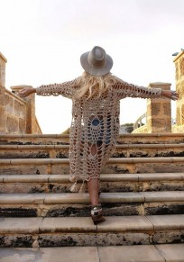 Beige Cut Out Tassel Homecoming Long Sleeve Fashion Cardigan Coat