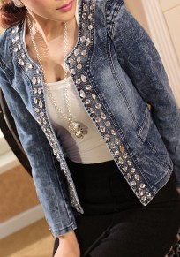 Blue Patchwork Rhinestone Zipper Round Neck Long Sleeve Fashion Denim Jeans Coat