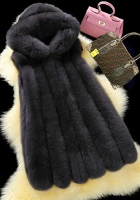 Black Pockets Vests Hooded Sleeveless Faux Fur Coat