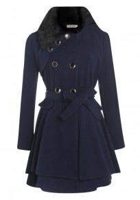 Manteau écharpe plissée doublé boutonnage manches longues laine de fausse fourrure bleu marine