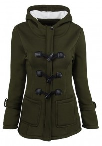 Army Green Pockets Buttons Hooded Long Sleeve Casual Jacket Coat