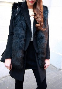 Black Draped Faux Fur Fashion Vest Oversize Coat
