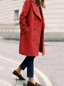 Mi-longue manteau en laine double boutonnage col à revers manches longues vintage femme rouille