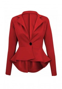 Red Buttons Ruffle Peplum Long Sleeve Fashion Suits