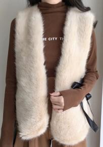 Manteau sans manches lacer fente en fausse fourrure mode gilet kaki