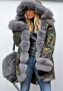 Army Camouflage Green Pockets Hooded Fur Collar Long Sleeve Coat