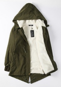 Army Green Pockets Drawstring Casual Winter Warm Hooded Fatigue Parka Coat