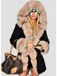 Black Patchwork Pockets Fur Lined Hooded Fur Collar Long Sleeve Parka Coat