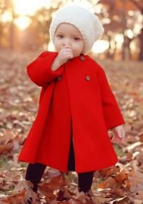 Manteau longue en laine drapé buttons peplum bébé fille hiver mignon rouge
