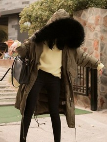 Army Green Patchwork Pockets Zipper Drawstring Fur Collar Military Parka Coat