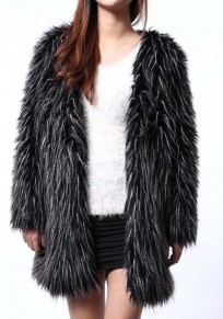 Black Long Sleeve Cute Faux Fur Coat