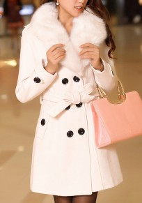 White Pockets Belt Turndown Collar V-neck Long Sleeve Cardigan Coat