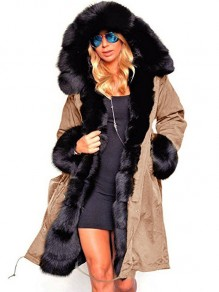Khaki Patchwork Pockets Fur Lined Hooded Long Sleeve Parka Fashion Coat