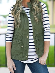 Army Green Drawstring Pockets Buttons Turndown Collar Casual Cardigan Vest Coat