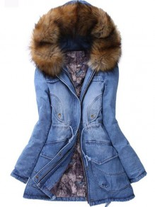 Blue Patchwork Fur Collar Pockets Drawstring Long Sleeve Denim Parka Hooded Coat