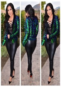 Green Patchwork Sequin Long Sleeve Casual Party Cardigan Coat
