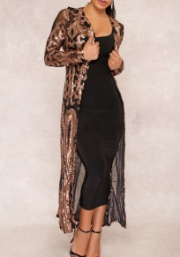 Black Patchwork Grenadine Sequin Long Sleeve Fashion Coat