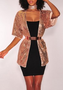 Golden Sequin Short Sleeve Fashion Clubwear Suit Cardigan Coat