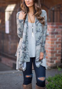 Grey Patchwork Camouflage Print Irregular Draped Long Sleeve Casual Camo Cardigan Coat