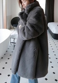 Grey Draped Pockets Side Slit Turndown Collar Long Sleeve Faux Fur Thick Coat