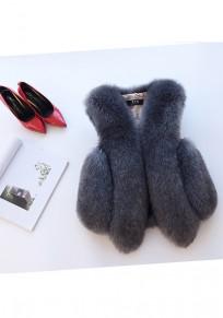 Manteau en fausse fourrure v-cou sans manches hiver élégant femme veste gris foncé