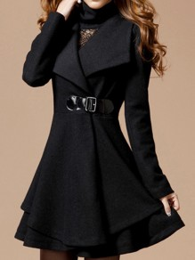 Black Draped Ruffle Belt Turndown Collar Elegant Office Worker/Daily Cardigan Woolen Coat
