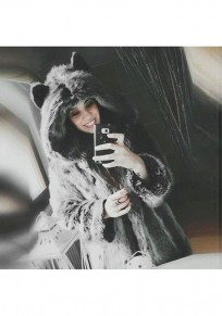 Grey Patchwork Fur Irregular Hooded Long Sleeve Cat Ears Fashion Coat
