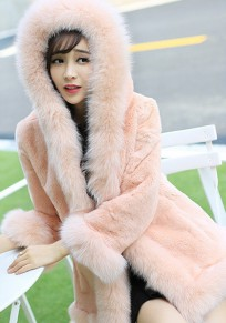 Pink Faux Fur Hooded Going Out Office Worker/Daily Cardigan Coat