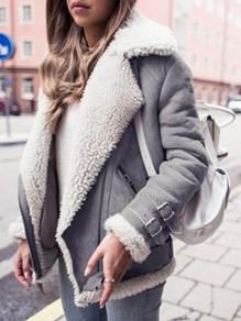 Manteau aviateur doublé mouton faux suède cuir manches longues mode femme bombardier vestes gris
