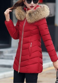Wine Red Patchwork Fur Hooded Zipper Long Sleeve Casual Coat