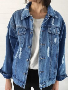 Blue Single Breasted Buttons Turndown Collar Casual Going out Denim Cardigan Coat