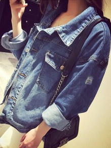 Blue Single Breasted Pockets Going out Boyfriend Casual Denim Jacket