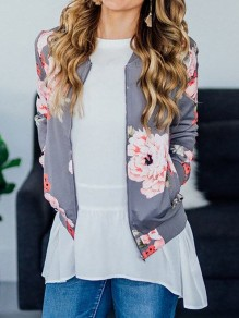 Grey Floral Zipper Pockets Long Sleeve Fashion Coat