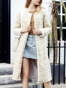 Rice Yellow Faux Fur Collarless Fashion Long Outerwear