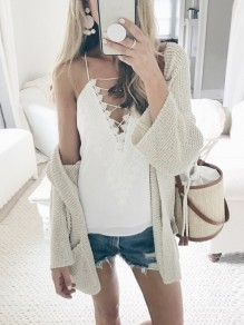 Beige Pockets No Buttons Slouchy Casual Coat