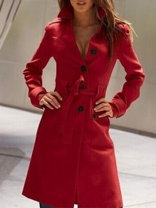 Red Pockets Single Breasted Sashes Turndown Collar Elegant Woolen Peacoat Coat