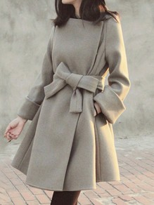 Grey Bow Belt Pockets Round Neck Long Sleeve Elegant A-line Wool Coat