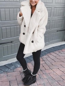 White Double-Breasted Pockets Faux Fur Turndown Collar Teddy Casual Coat