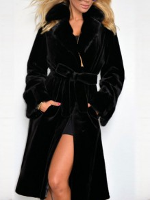 Black Bow Belt Turndown Collar Long Sleeve Fashion Coat