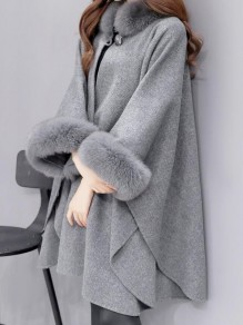 Grey Patchwork Fur Buttons Band Collar Three Quarter Length Sleeve Fashion Coat