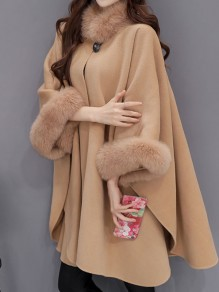 Camel Patchwork Fur Buttons Band Collar Three Quarter Length Sleeve Fashion Coat