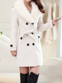 White Fur Bow Sashes Buttons Turndown Collar Long Sleeve Elegant Peacoat Coat