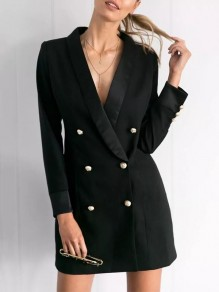 Black Buttons Turndown Collar Long Sleeve Fashion Outerwear