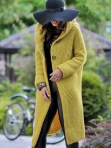 Yellow Buttons Hooded Long Sleeve Oversize Fashion Cardigan Sweater