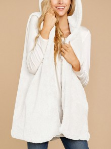 White Irregular No Buttons Fluffy Comfy Casual Teddy Fur Hooded Cardigan Vest Coat
